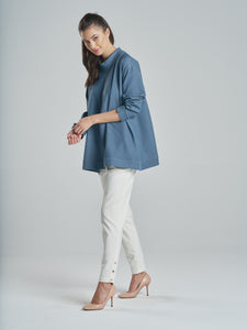 Denim Top with Elegant Gold Buttons