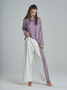 Textured Dusty Purple Cowl Neck Top