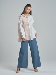 Classic Cotton Silk Shirt with Coral Stripes