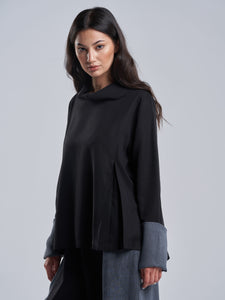 Silky Black Top with Washed Grey Cuffs