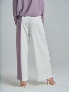 Dusty Purple & White Trousers