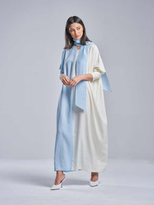 Two Toned Sky Blue & Off-White Dress