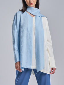Two Toned Sky Blue & Off-White Top