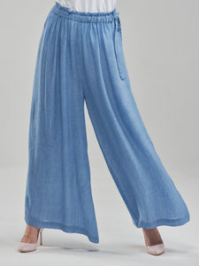 Washed Sky Blue Flowy Trousers