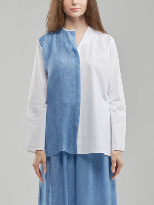 Two Toned Oversized White & Sky Blue Shirt