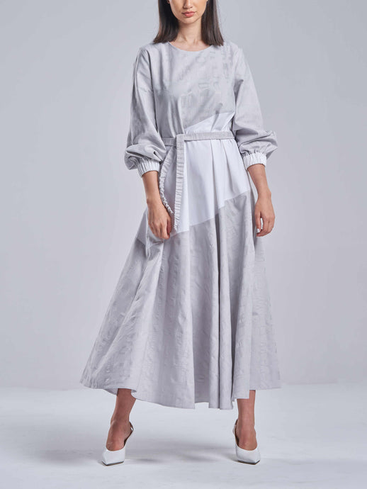 Soft Grey Embroidered Bias Dress with White Contrast
