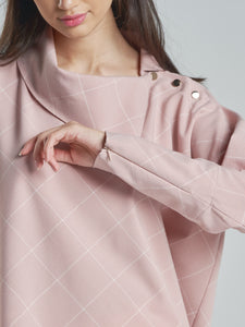 Pink Checkered with gold buttons