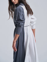 Grey and Striped Flowy Dress
