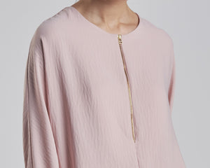 Dusty Pink Top with Gold Zipper