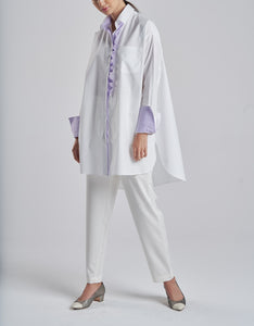 Oversized Crisp Cotton Purple Frill Shirt