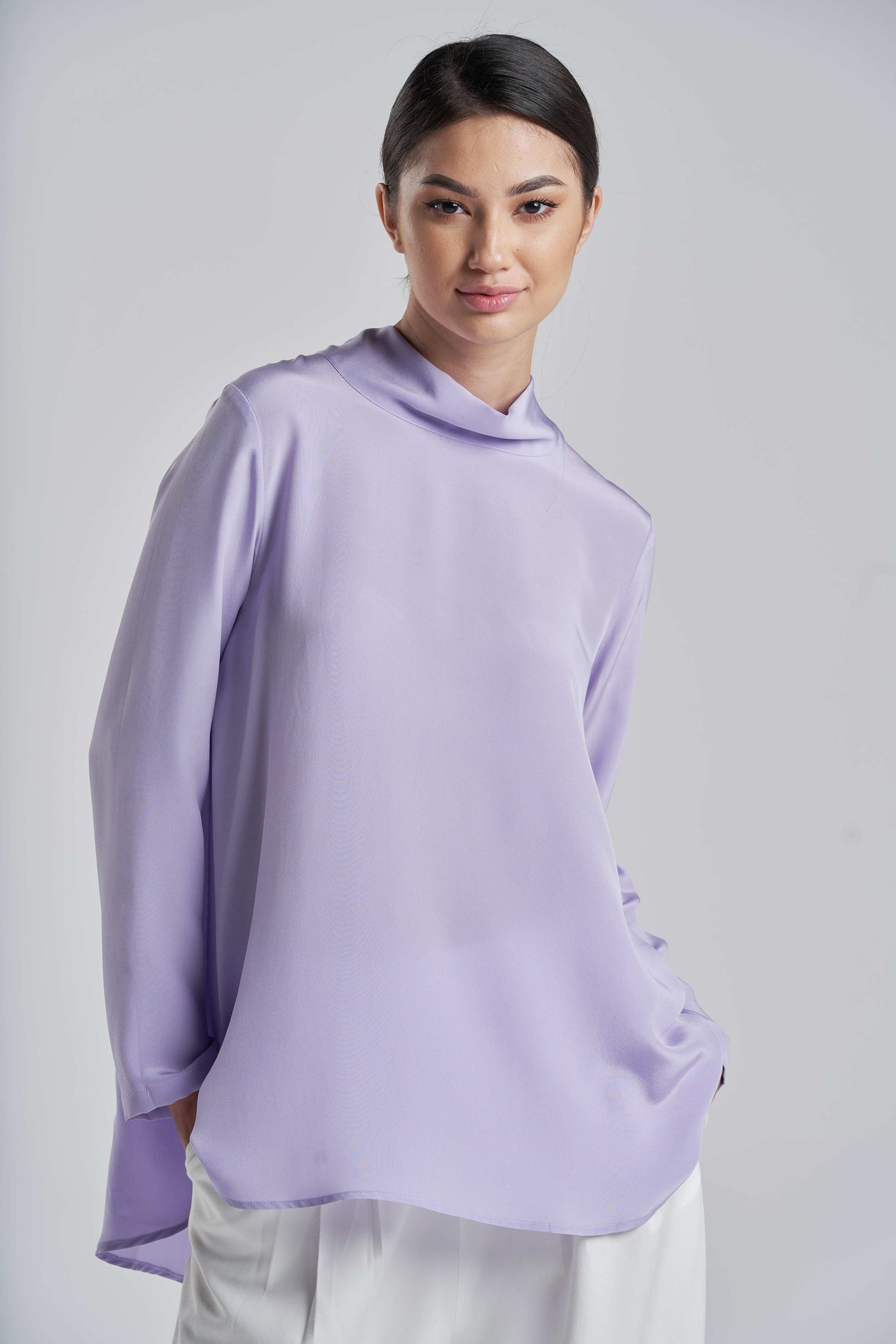 1413928f56e8d8 ... Luxurious Lavender Silk Top ...