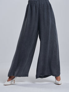 Washed Grey Wide-Cut Trousers