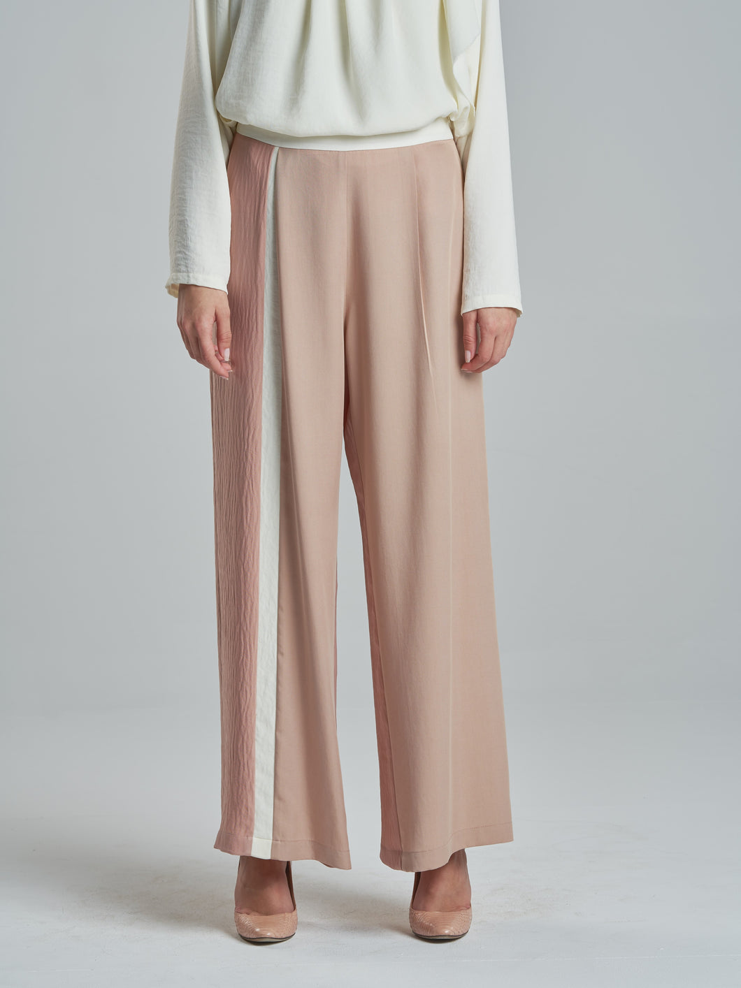 Deep Coral Two Tone Trousers