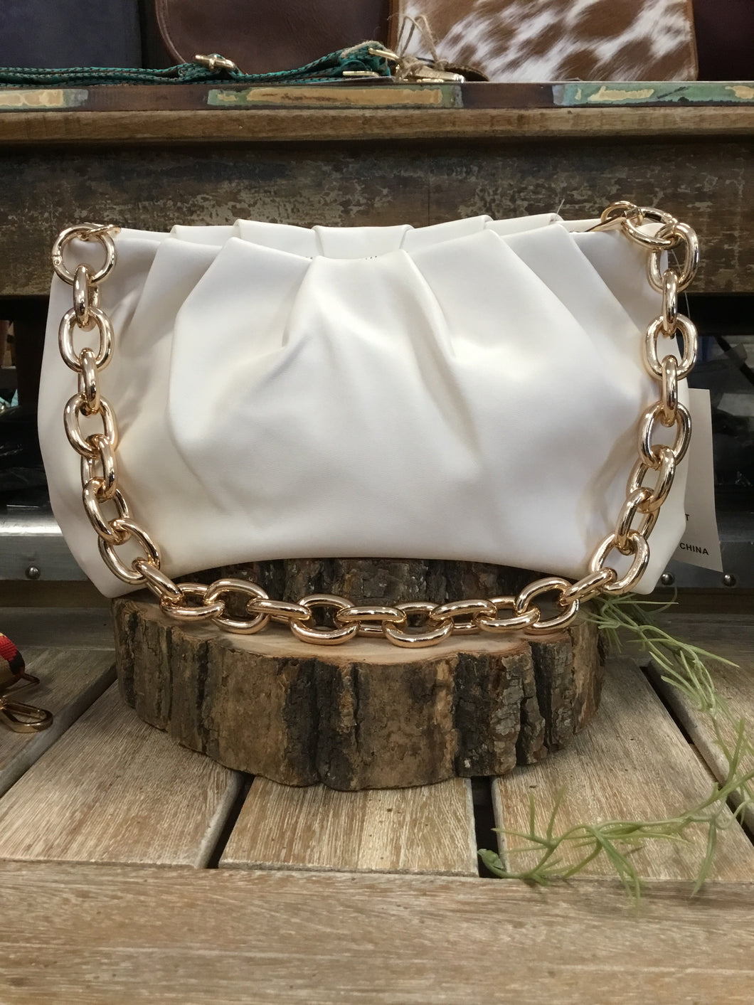 Ahdorned Faux Leather Chain Bag White