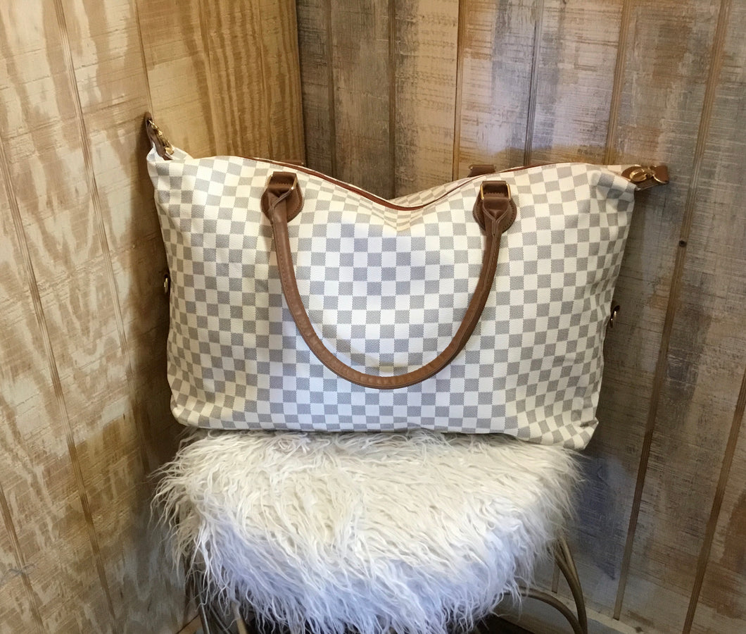 White Checkered Duffle Bag