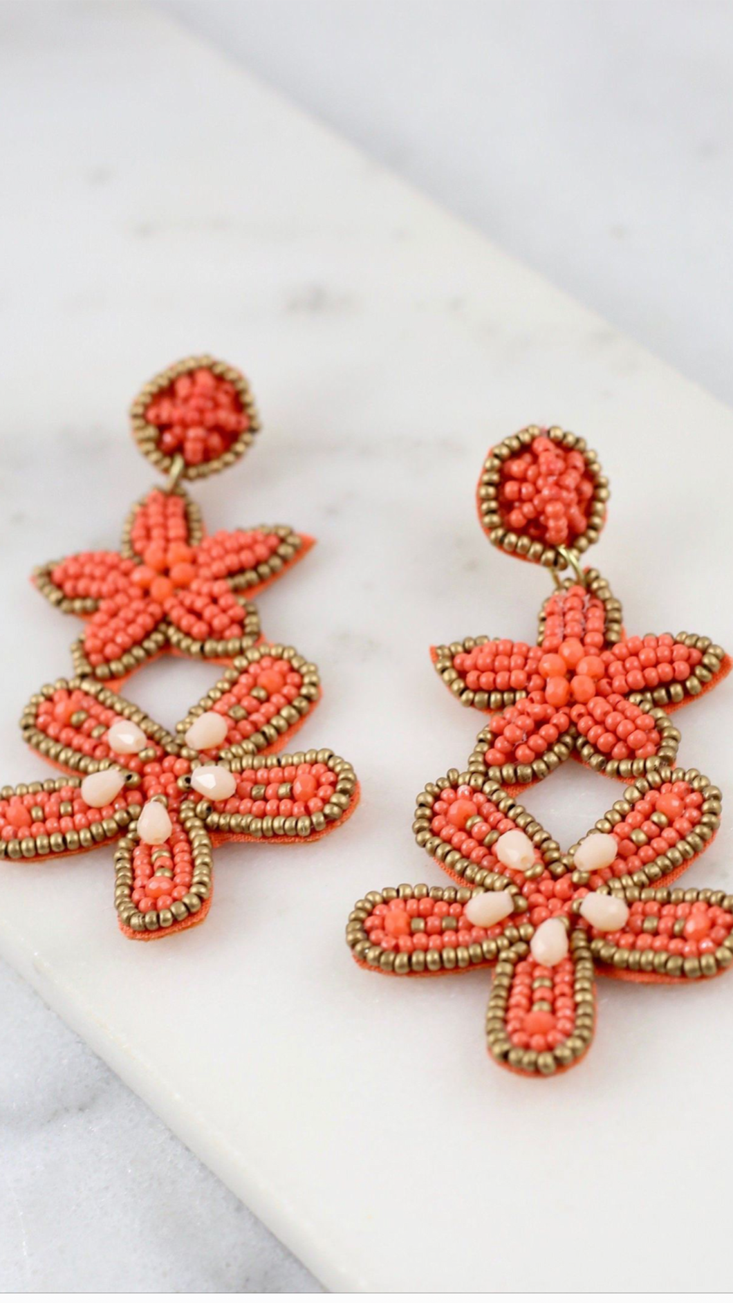 Queens Seed beaded Starfish earrings
