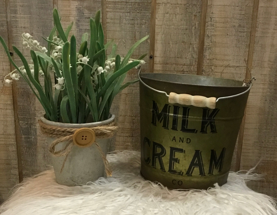 Milk and Cream Metal Bucket