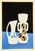 blue white and black Vase fine art screenprint