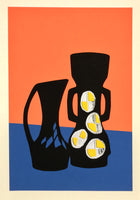 orange blue and black Vase fine art screenprint