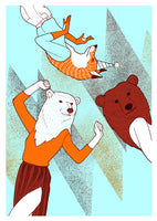 poster animal party, dancing fox bear woman blue orange brown screenprint limited edition home design
