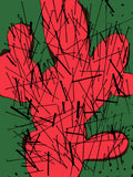 green red and black cactus art print
