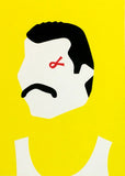 Freddy Mercury portrait screenprint wall art red black yellow white home decor