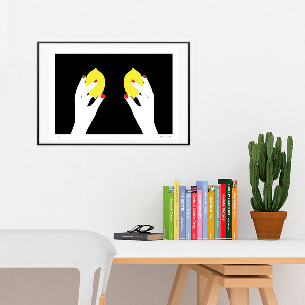 lemons, meto, hands, woman, feminine, Tits, breast, modern art, pop art, geometric, paper cut, Collage, wall deco, wall art, israeli art, limited, affordable art