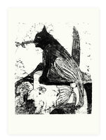 expressive sketch modern etching peacock woman black and white screenprint cat