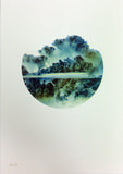 black blue green clouds sky dramatic screenprint