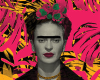 pink yellow green and black frida kahlo screen print