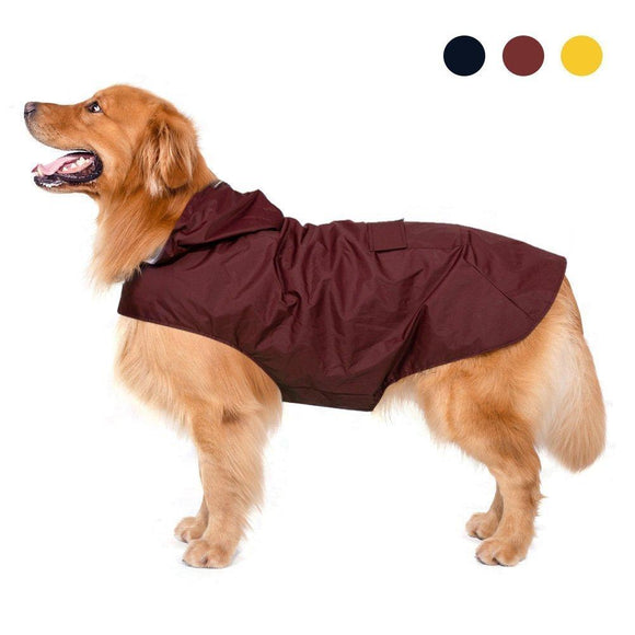 Dog Raincoat with Hood & Collar Reflective Strips - DogSmart.ie