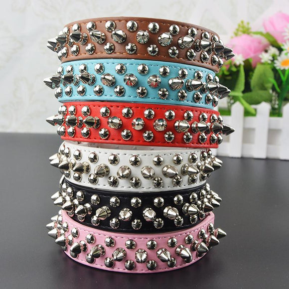 Pu Leather Studded Round Spikes Small Dog Collar - DogSmart.ie