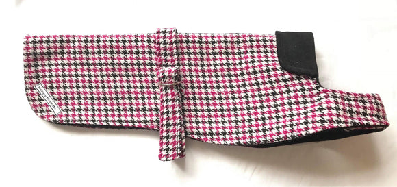 Dachshund Hot Pink and Black houndstooth Dog Coat - DogSmart.ie