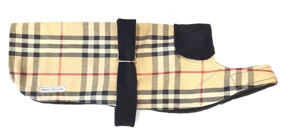 Dachshund Mixed Fibre Red and Beige soft chequered Dog Coat/jacket. - DogSmart.ie