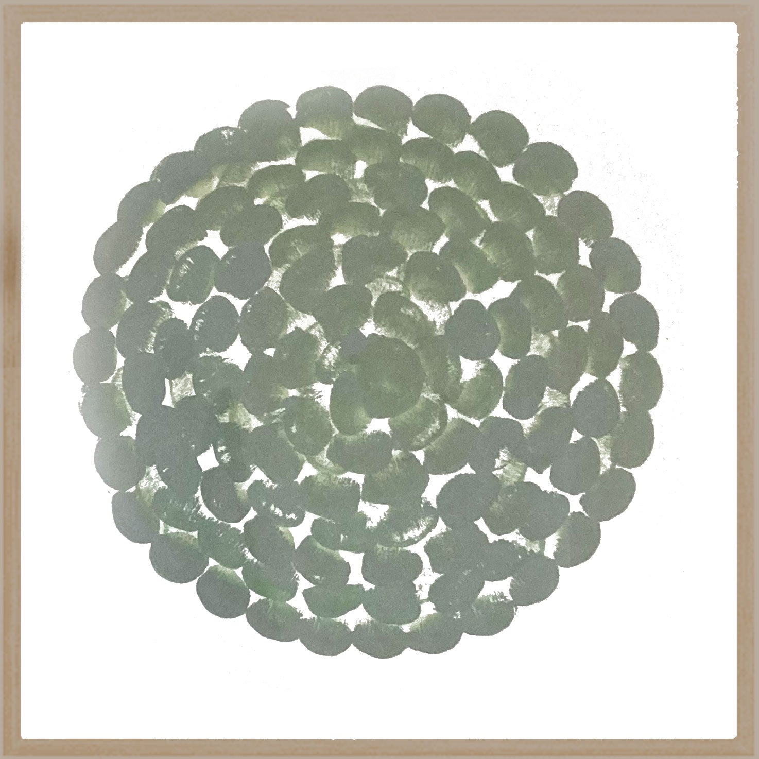 FLOWERS CIRCLE,  GREEN LIGHT - 70 x 70 cm
