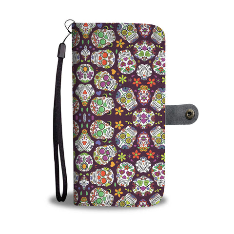 Purple Sugar Skull Wallet Case