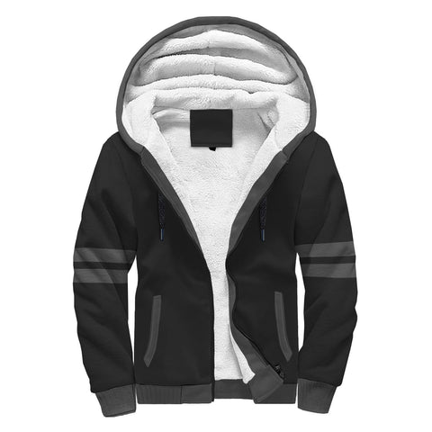 Custom Black With Gray Trim Sherpa Hoodie