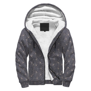 Fabulous Gray Abstract Triangles Design Sherpa Hoodie