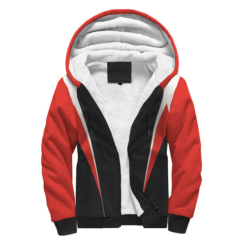 Image of Sleek Red And Black Fade Sherpa Hoodie