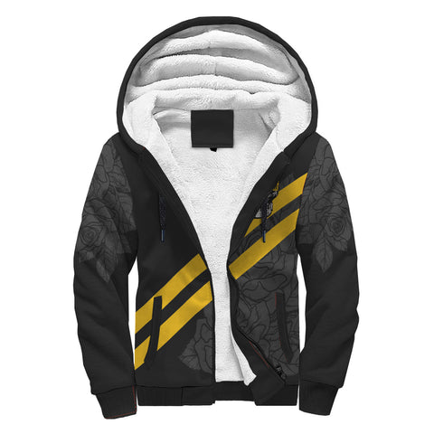 Image of Custom Yellow Striped Skull Sherpa Hoodie