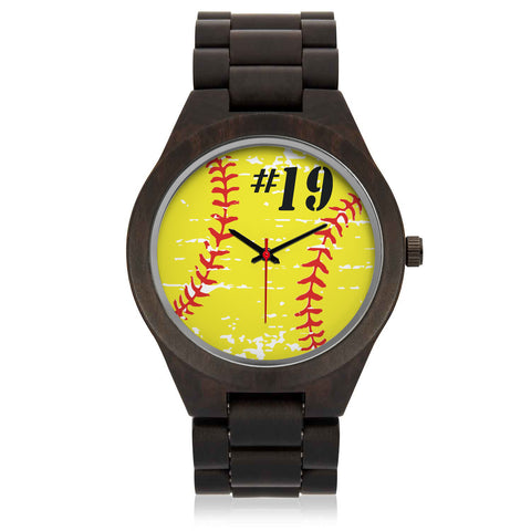 Personalized Softball Wood Watch