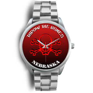 Nebraska Throw The Bones Silver Watch