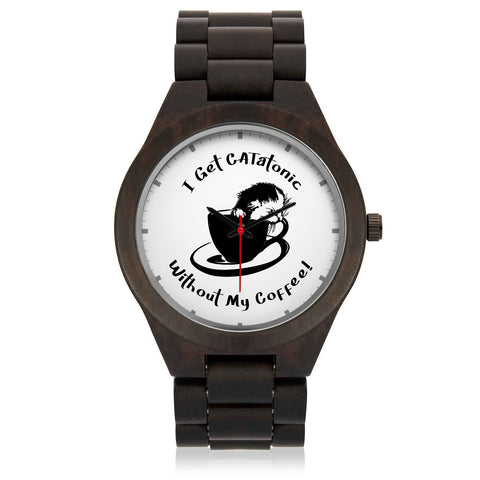 Cute Catatonic Coffee Wood Watch
