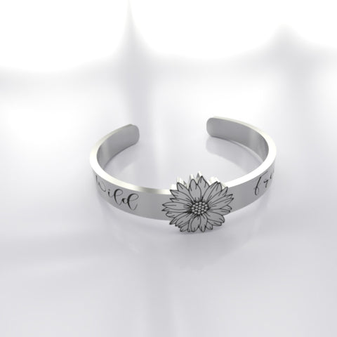 Beautiful Wild And Free Sunflower Silver Ring