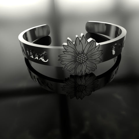 Image of Cute Wild And Free Sunflower Silver Ring