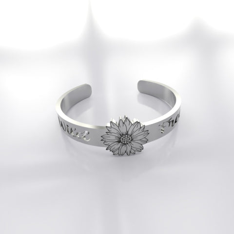 Cute Wild And Free Sunflower Silver Ring