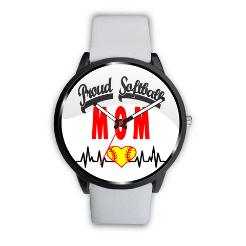 Image of Proud Softball Mom Heartbeat Watch