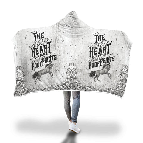 Image of Horse Hoof Prints Hooded Blanket