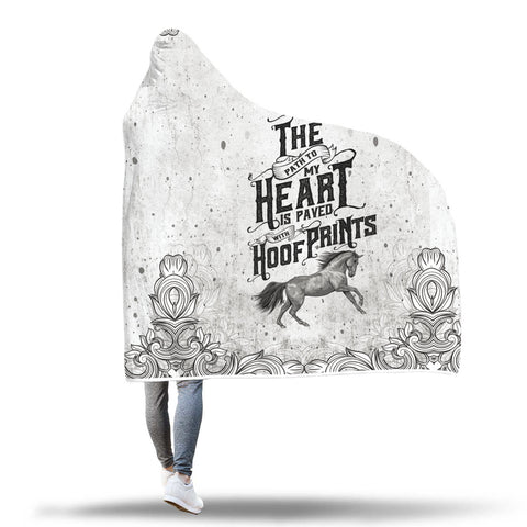 Horse Hoof Prints Hooded Blanket