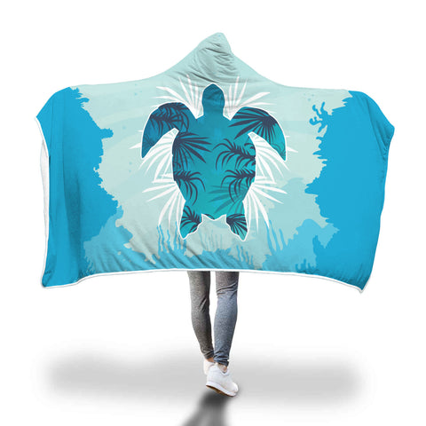 Custom Sea Turtle Hooded Blanket